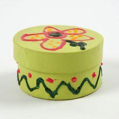 Målad rund ask med lock, dekorerad med glitter