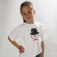 T-shirt med hat, briller og mustache som aftryk