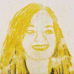 Porträtt, gjord som monotryck med Neocolor II från Caran d'Ache