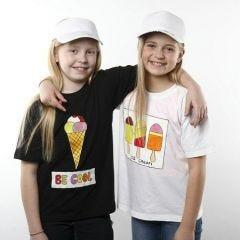 T-shirt med glassmotiv, gjord med textilfärg
