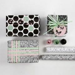 Inslagning med dekoration och papper från Vivi Gade Design, Paris