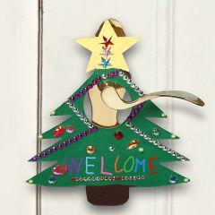 Målad och dekorerad skylt till jul