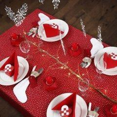 Juldukning i rött och vitt