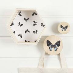 Sexkantig lådhylla och knoppar med matchande dekorationer
