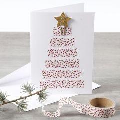 Dubbelkort dekorerad med julgran av washitejp.