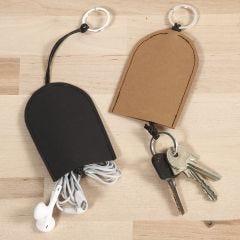 Fodral till nycklar och headset av läderpapper