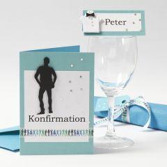 Konfirmationsinbjudning och bordsdekorationer