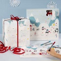 Färgläggning av julkalender, kalenderlåda och presentpapper med polarmotiv.
