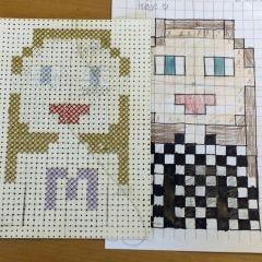 Pixel art med korsstygn