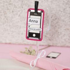 Bordskort/placeringskort av etikett med mobiltelefon, metallkartong och strukturpapper.