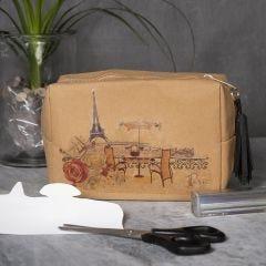 Sminkväska av läderpapper med motiv på transferark