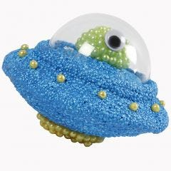 Ufo av frigolit dekorerad med Foam Clay, Pearl Clay och deko-kula