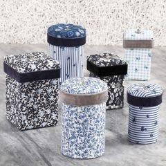 Pappaskar dekorerade med textildecoupage