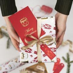 Till och från kort till jul, dekorerade med dekorationsfolie och limark med design