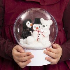 Deko-kula på fot med snögubbe, pingvin och isbjörn