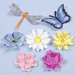 Utstansade insekter och blommor med 3D-effekt