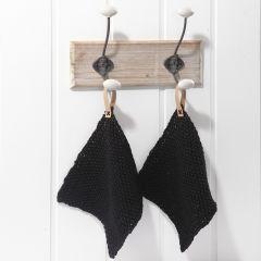 Stickade grytlappar med hankar av läderpapper