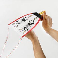 Fåret Shaun drakflygare dekorerad med textiltusch