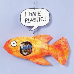 Fisk av gipsgaze med plast i magen.