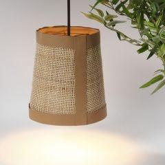 Lampskärm med läderpapper och rörflätat/rotting