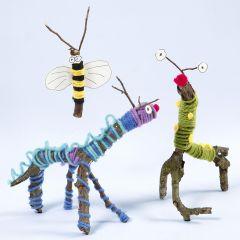 Djur och insekter gjorda av grenar, garn och Sticky Base