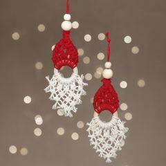 Jultomte av makramé som hängande dekoration