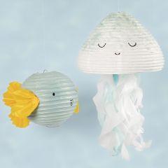 Manet och fisk av rispapperslampa dekorerad med hobbyfärg och silkespapper