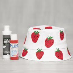 Hatt med målade jordgubbar