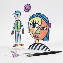 Utskuren figur ritad på skumkartong