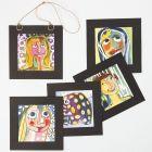 Porträtt gjord med akvarellfärger och ritgummi