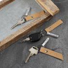 Nyckelring med präglade tags av metall och läderpapper