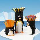 Papprör dekorerade som pingviner