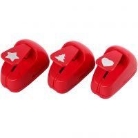 Pappersstans, Stjärna, hjärta, julgran, stl. 16 mm, röd, 1 set