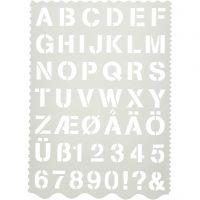 Schablon, bokstäver och siffror, H: 25 mm, 21x29 cm, 1 st.