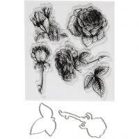 Stämplar och skärschabloner, blommor, stl. 4-6,5 cm, 1 förp.
