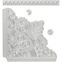 Skär och prägelschablon, dekorativa hörn, stl. 14,5x1,5 cm, 1 st.