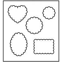 Skärschablon, form med avrundade hörn, stl. 14x15,25 cm, tjocklek 15 mm, 1 st.
