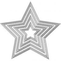 Skär och prägelschablon, stjärnor, Dia. 3,5-11,5 cm, 1 st.
