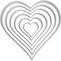 Skär och prägelschablon, hjärtan, stl. 2,5x3-10x11 cm, 1 st.