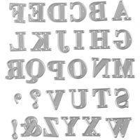 Skärschablon, alfabet, stl. 2x1,5-2,5 cm, 1 st.