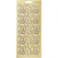 Stickers, juleljus, 10x23 cm, guld, 1 ark