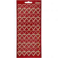 Stickers, hjärtan, 10x23 cm, guld, röd, 1 ark
