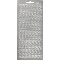 Stickers, bårder, 10x23 cm, silver, 1 ark