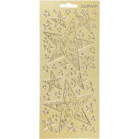 Stickers, stjärnor, 10x23 cm, guld, 1 ark