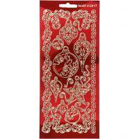 Stickers, ornament, 10x23 cm, guld, transparent röd, 1 ark