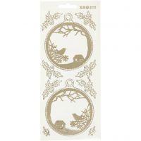 Stickers, julkulor, 10x23 cm, guld, transparent, 1 ark