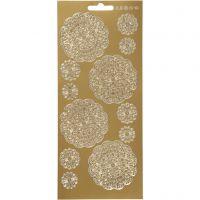Stickers, blommor, 10x23 cm, guld, 1 ark