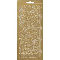 Stickers, renar, 10x23 cm, guld, 1 ark