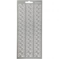 Stickers, hörnen, 10x23 cm, silver, 1 ark