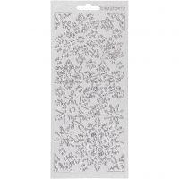 Stickers, snöflingor, 10x23 cm, silver, 1 ark